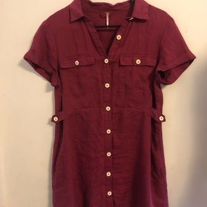 Free people utility dress berry color